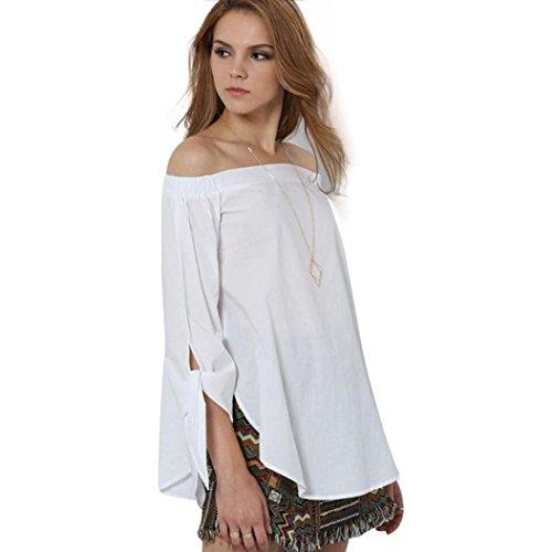 Off Shoulder Blouse, Amlaiworld Femmes Mode Outre de l'épaule T-shirt manches longues Casual Tops Chemisier Blanc