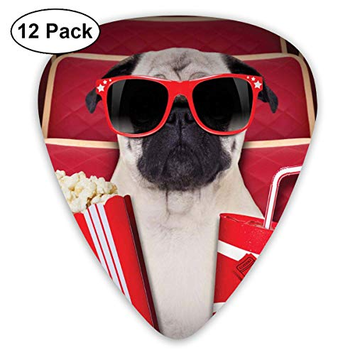 Celluloid Guitar Picks - 12 Pack,Abstract Art Colorful Designs,Funny Dog Watching Movie Popcorn Soft Drink And Glasses Animal Photograph,For Bass Electric & Acoustic Guitars.