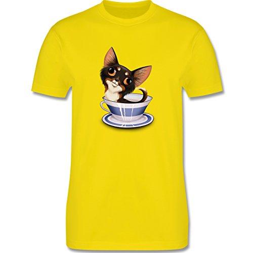 Hunde - Teacup Chihuahua - Herren Premium T-Shirt Lemon Gelb