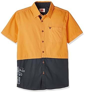 UFO Boys' Shirt (SS17-WB-BKT-735_Orange and Navy_10-11 Yrs)