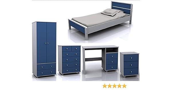 Miami 5 Piece Blue White Children Bedroom Furniture Set ...