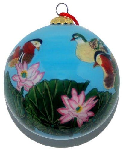 Hand bemalt Glas Ornament, Mandarin Enten co-192 -