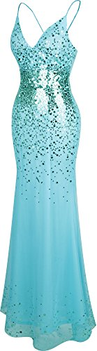 Angel-fashions Femme Spaghetti Strap V Neck Paillettes Backless robe fourreau Bleu clair