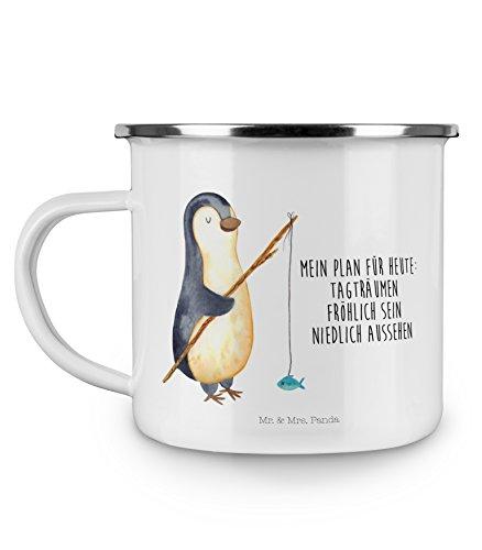 Mr. & Mrs. Panda Emaille Tasse Pinguin Angeler - 100% handmade in Norddeutschland - Pinguin, Pinguine, Angeln, Angler, Tagträume, Hobby, Plan, Planer, Tagesplan, Neustart, Motivation, Geschenk, Freundinnen, Geschenkidee, Urlaub, Wochenende Emaille Tasse, Metalltasse, Kaffeetasse, Tasse, Becher, Kaffeebecher, Camping, Campingbecher