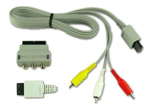 Original Nintendo Wii AV TV YUV Video Kabel Fernseherkabel mit Scart Adapter 3-CINCH
