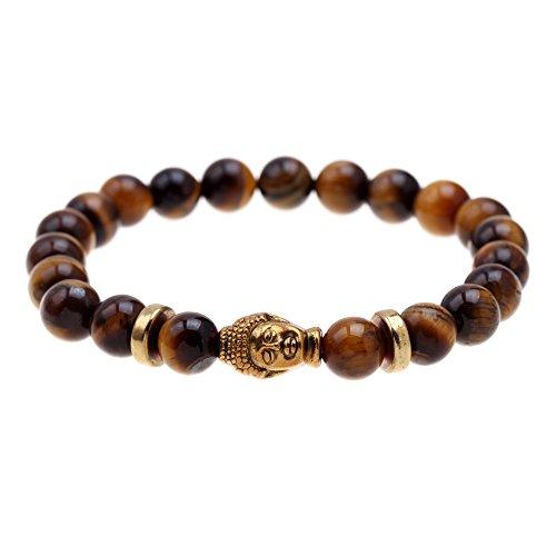 Mystik Buddha Tiger Eye Armband für Männer oder Frauen Meditation. Mala, buddhistische Gebetskette, Zen Buddhismus, Reiki Energie Heilung Therapie. Yoga Armband. Root Heilung Steine