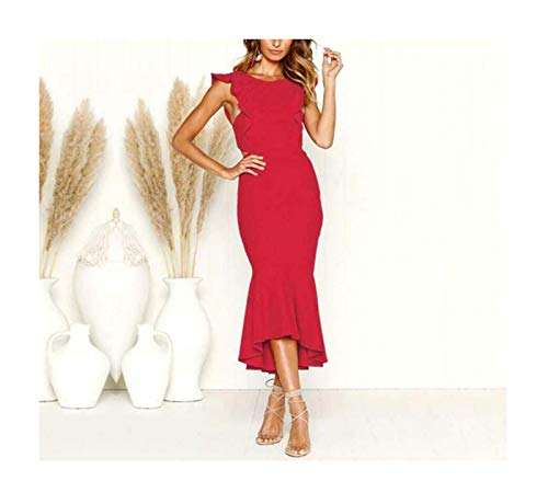 PLOPYSE& Women Formal Backless Evening Party Ball Prom Gown Long Bodycon Cocktail Dress Red S Ball Gown Scoop Neck