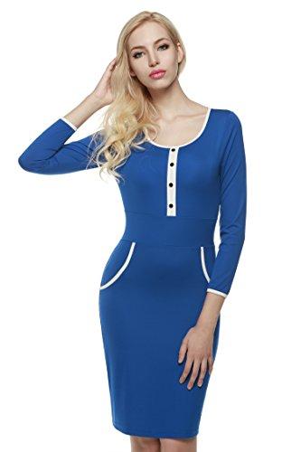 CRAVOG Damen Minikleid Langärmel Bodycon Kleider Beiläufige Knielang  Partykleid Abendkleider Cocktailkleider Herbst Frühling Blau