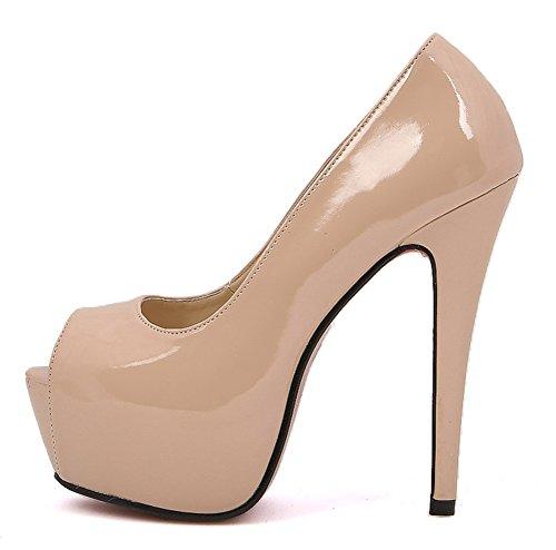 Aisun Damen Peep Toe Sexy Patent Damenschuhe High Heels Plateau Pumps Beige