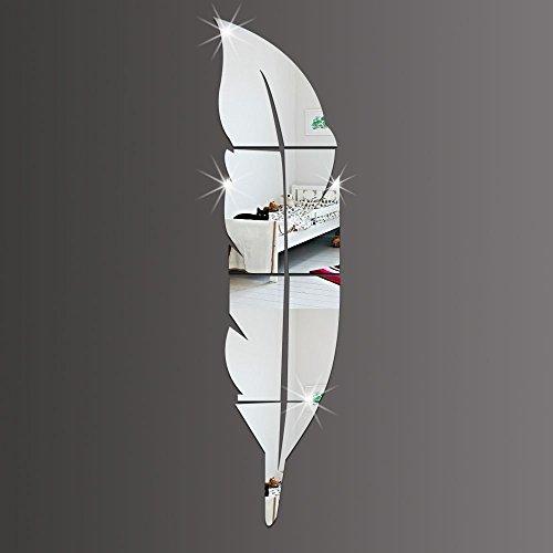 DMMASH Dekorative Wandaufkleber Abnehmbare Feder Spiegel Wandaufkleber Aufkleber Kunst Vinyl Haus Zimmer Dekoration DIY, Silber,30*120Cm