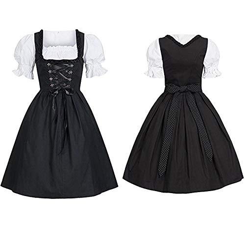NGHJF Bayerisches Dirndl Kleid mit Schürze Damen Oktoberfest Kostümparty Dirndl Magd Bauer Kleid groß Cosplay - Billig Bauern Kostüm