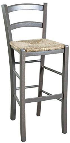 tabouret en htre massif finition gris laqu avec assise paille l46xpr41xh101 cm - Chaise Hetre Assise Paille