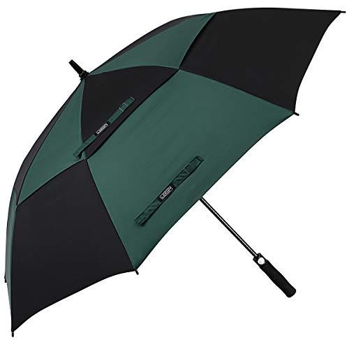 Doppelte Öffnung (G4Free Golfschirm mit automatischer Öffnung, extragroß, Übergröße, doppelter Baldachin, belüftet, Winddicht, wasserdicht, Stockschirme, 17.Black/Dark Green, 68 inch)
