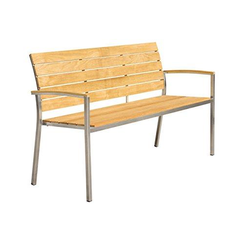 Design Gartenbank Edelstahl Teak OUTLIV. Pamplona 3-Sitzer-Bank 150cm Sitzbank Garten