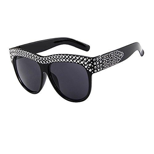 Sonnenbrille mit lackierten Strassstein Frauen Männer Vintage Retro Brille Unisex Fashion Patchwork Big Frame Sonnenbrille Retro Brille