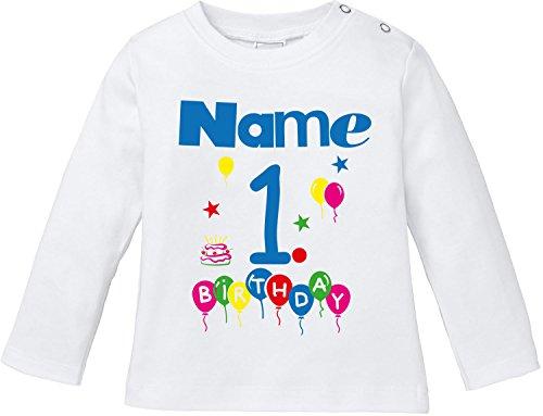 EZYshirt Geburtstag Wunschname Wunschnummer Baby T-Shirt Longsleeve Bio Baumwolle (T-shirts Für Kleinkinder Personalisierte)