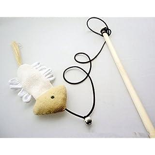 ALLtree Pet Cat Kitten Teaser Wooden stick Wand Linen+feathers Rods Plaything