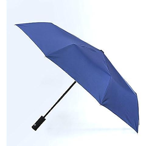 Ombrello Pieghevole con Luce LED nel manico, kqrns antivento ombrello ombrello esterno da viaggio compatto e leggero, facile da trasportare per uomini e donne (tasto apertura e di chiusura automatica per funzionamento con una mano), Navy