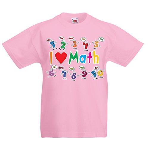 Kinder Jungen/Mädchen T-Shirt Ich Liebe die Mathematik - pädagogisches Geschenk - Zurück zu Schule oder Graduation Day Clothing (9-11 Years Pink Mehrfarben)