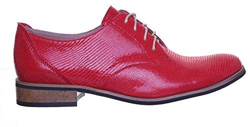 Reece Justin femme Design richelieu en cuir à lacets Style chaussures Rouge - Red T34