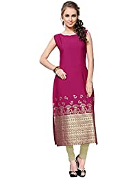 Ziyaa Women's Dark Pink Colour Boat Neck With Sleeveless Crepe Foil Print Straight Kurta (ZIKUCR552)