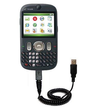 Aufgewickeltes USB-Kabel kompatibel mit HTC S640 mit den Funktionen Datentransfer und Aufladen Verwendet die TipExchange Technologie