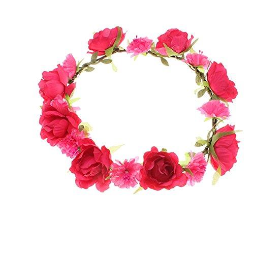 chten Blumen Stirnband Kopfband Kranz von Rosen Braut Brautjungfer Haarschmuck Blumen Hairband Hochzeit ( #1 ) (Rose-maskerade-maske)