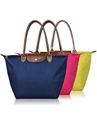 Lemish Waterproof Long Handle Nylon Foldable Shopping Handbag - Multi Color - B0776WG3PN
