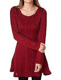 1e73e94ea98f Vestito in Maglia Donna Inverno Moda Basic Mini Abito Tubino Maglione Lungo  di Lana Vestiti Aderenti