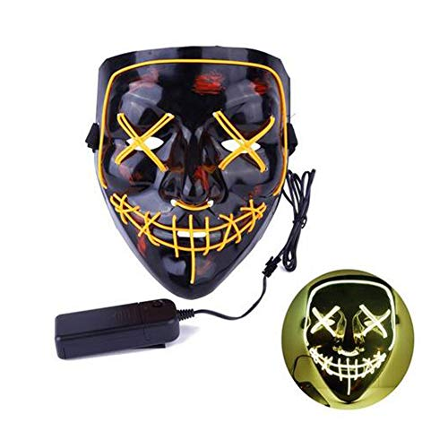 Kostüm Bird Yellow - JOKOP Halloween LED Maske mit 3 Blitzmodi Batterie Angetrieben für Fasching Karneval Party Kostüm Cosplay Dekoration,Gelb