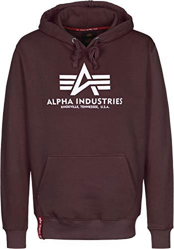 Alpha Industries Herren Kapuzenpullover Basic, Größe:S, Farbe:Deep Maroon - Maroon Baumwolle Farbe