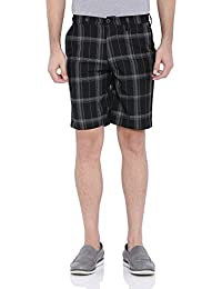 Blue Wave Black & Grey Checkered Casual Shorts For Men