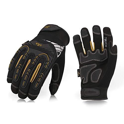 Vgo 3 Paare hohe Mechnische Arbeitshandschuhe, für große Belastungsarbeit, Vibration-Schutz-Handschuhe, Heavy Duty (9/L, Schwarz + Gold, SL8849)
