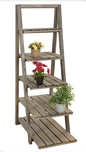 Spetebo Holz Pflanzentreppe 118 cm - 5 Ablagen - Blumentreppe Blumenetagere Pflanzenleiter Blumenständer