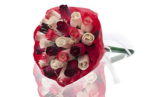 Creative Wooden Roses Rosenstrauß Kristi aus Holz, perfekt für jeden Anlass, schöne Dekoration für Zuhause oder Büro rot/weiß