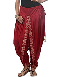 Nika Women's Cotton Hand Block Printed Dhoti Salwar by Kaanchie Nanggia (KNA-12975_Red_Freesize)