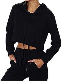 Damen Kapuzenpullover Sweatshirt Winter Pullover Oberteile Lang Mantel Sweatjacke Kapuzenjacke Long Sleeve Solid O-Neck Bandage Hoodie Blouse Top