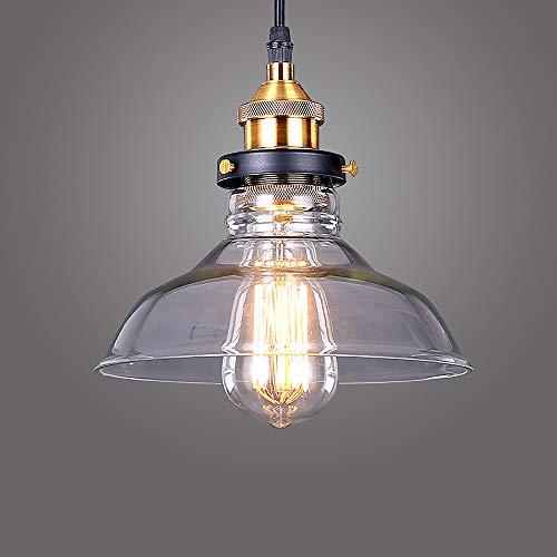 Lightess Lámpara Colgante Cristal Lámpara Vintage Luz Industrial Luz de Techo de Pantalla Rústico Casquillo E27 No Incluye Bombillas para Decoración Interior, La Carcasa de Fuera o Tulipa Transparente