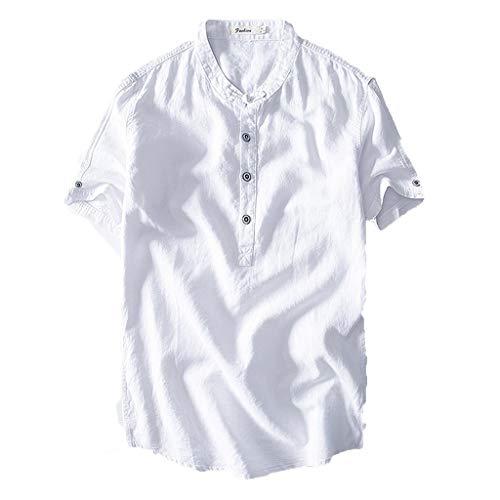 UINGKID Herren T-Shirt Kurzarm Slim fit Causal Shirt Top Button Baumwolle Leinen einfarbig lose Bluse -