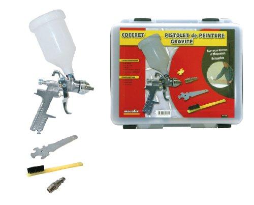 Mecafer 161132 - Pistola de pintura por gravedad (600 ml, incluye accesorios, en maletín)