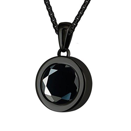 Quiges Schwarze Anhänger Edelstahl 12mm Mini Coin Halter und Schwarze Runde Zirkonia Coin mit Kette 42 + 4cm Verlängerungskette