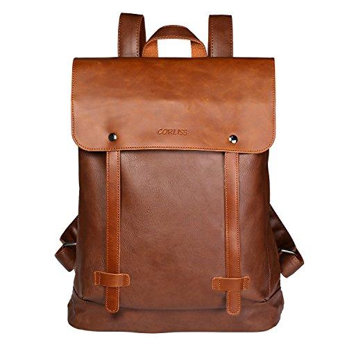 CORLISS Unisex PU Leder Rucksack Schulrucksack (#02 Braun) (Handtaschen Womens Junior)