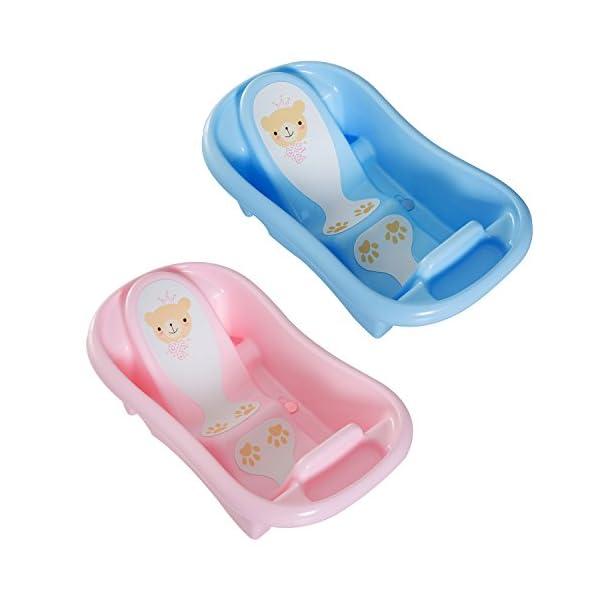 PP Baby Bath Tub Infant Child Sink Seat Backrest 2 Stage Anti-Slip 36 Months Floor Pink