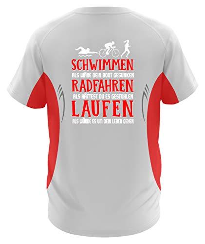 Triathlon Shirt · Geschenkidee für Triathleten · Spruch/Motiv: Schwimmen Radfahren Laufen - Herren Laufshirt tailliert geschnitten -L-Rot-Weiss - Schwimmen T-shirt Sprüche