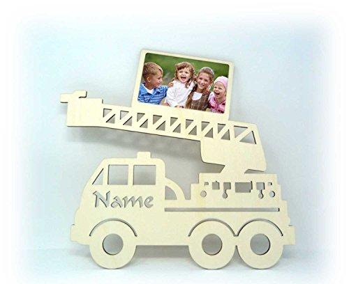 Feuerwehr-Auto Motive für Wand Tür-Schild Bilderrahmen Baby-Geschenke zur Geburt Junge & Mädchen mit Gravur