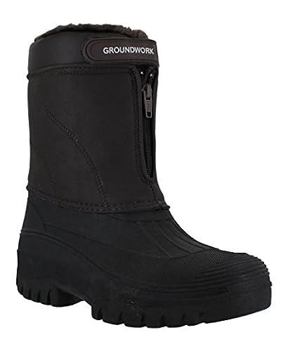 Groundwork LS90 Mens Stable Yard Country Waterproof Winter Snow Front Zip Boots UK 11 Brown