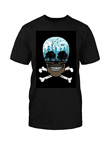 Death City T-Shirt neu Fun Funny Horror Satire Skull Schädel Comic Rockabilly Schwarz