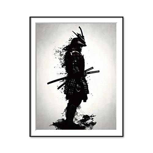 Póster minimalista Samurai de estilo moderno sin marco de lona para pintar en la pared decoración del hogar, color A