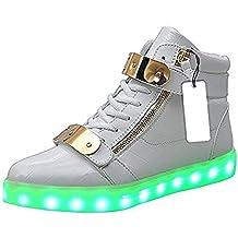 Niños Hombres Mujeres Oro Light Up LED Zapatos/Zapatillas Color Flashing Pattern USB Recargable