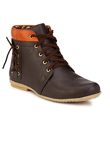 Wave Walk Men Trendy Synthetic Leather Brown Boots  available at amazon for Rs.599